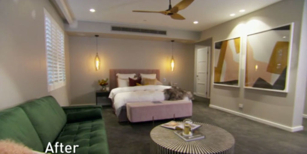 Courtney and Hans' bedroom after the re-do. Image: Channel Nine