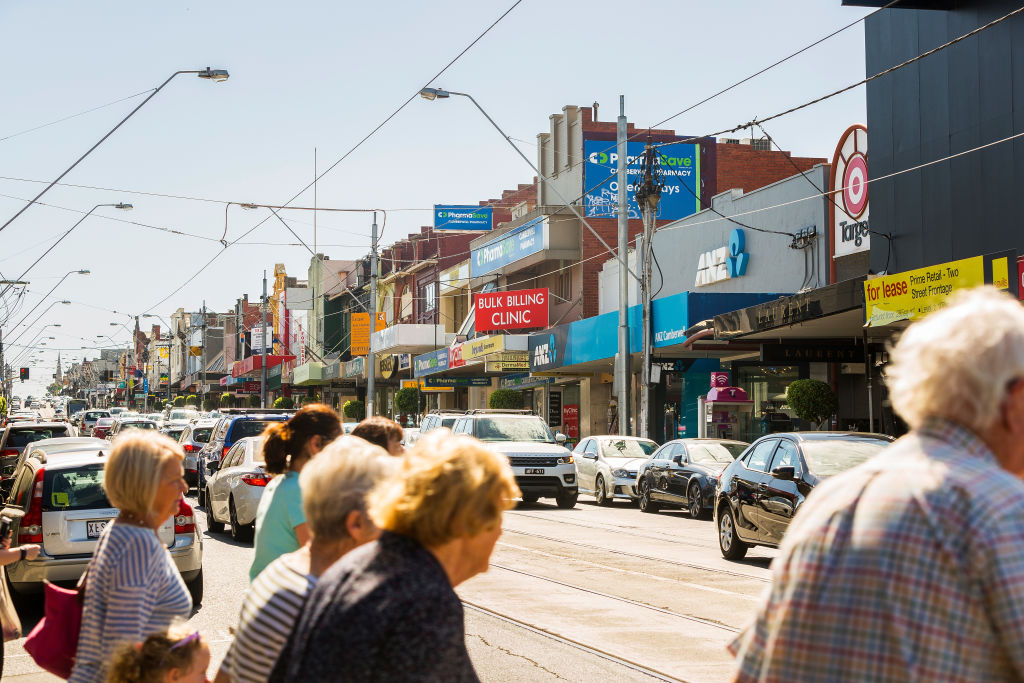 MELBOURNE, AUSTRALIA - APRIL 08: A general view of the shopping and cafe strip on Burke Road in Camberwell for Domain Neighbourhoods on April 8, 2017 in Melbourne, Australia. (Photo by Chris Hopkins/Fairfax Media)