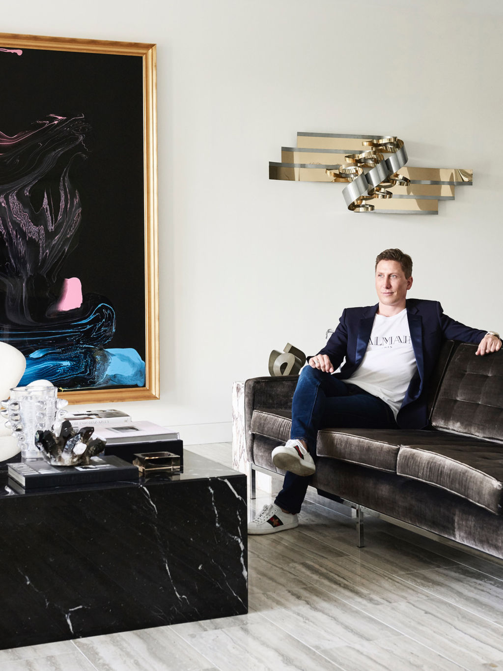 David Hicks in his apartment for The Design Files. Photo: Eve Wilson.