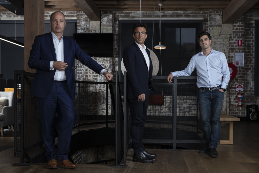 Afterpay cofounders David Hancock, Anthony Eisen and Nicholas (Nick Molnar) in their Surry Hills office. Thursday 4th October 2018 AFR photo Louie Douvis