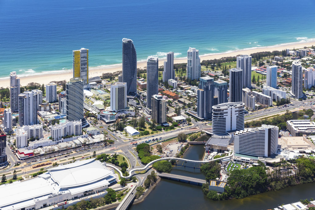 Aerial view of Broadbeach on the Gold Coast