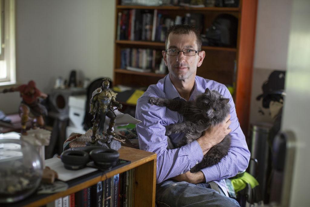 David Alberti and Umbra his cat