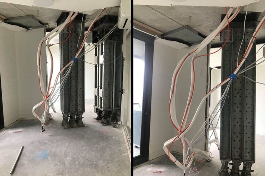 Gutted: these photos show inside an affected Opal Tower apartment. Furniture, floorings and the ceiling have been removed, and propping equipment installed. Residents have complained about no notification such work would occur. Image supplied/AAP