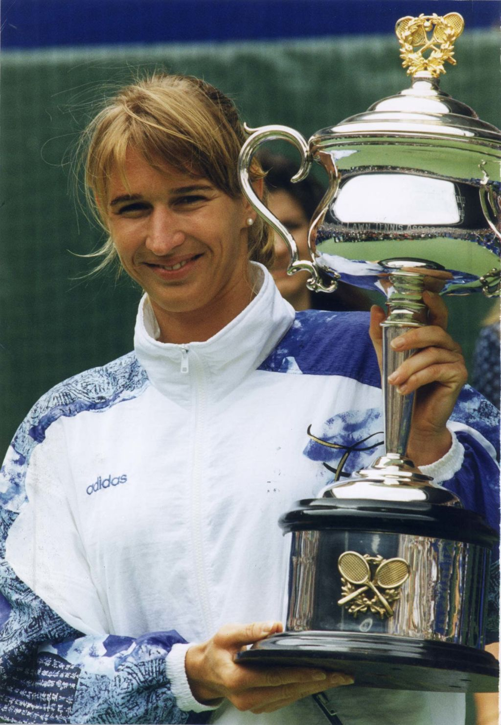 Steffi Graf holding the 1994 Australian Open tennis trophy. Photo: Supplied.