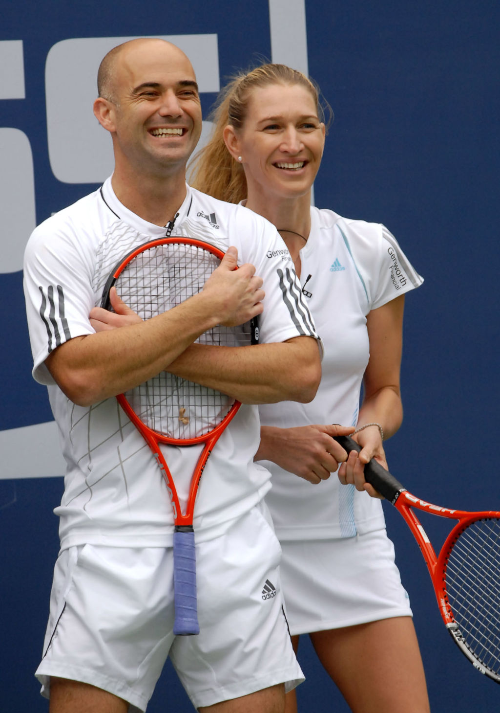 Andre Agassi, left, and his wife Steffi Graf . Photo: Paul Hawthorn.