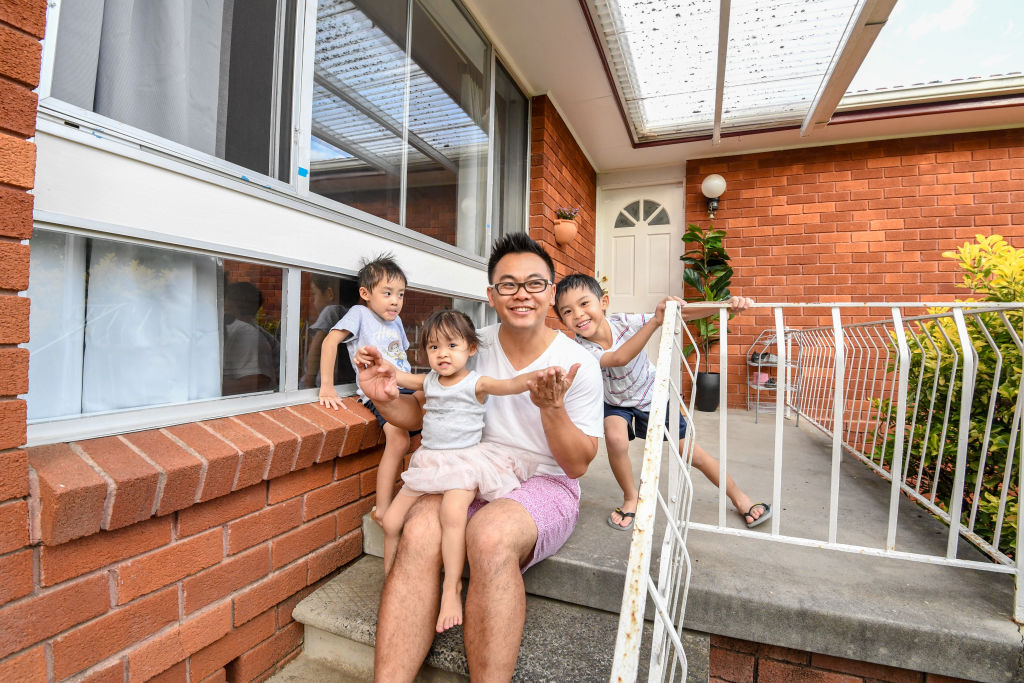 Alex Chau with children Lyla-Rose , 2 , Cooper, 4 and Hudson 6 at there new home.
