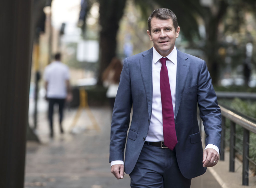 Mike Baird former Premier of NSW walks down Macquarie Street on his way to give evidence at the Upper House inquiry into the Powerhouse Museum's move to Parramatta, on 28 May 2018. Photo: Jessica Hromas