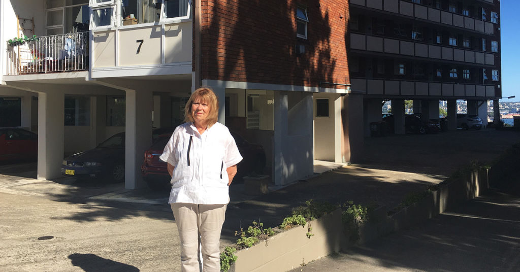 Jan Newland outside her apartment block in Neutral Bay.