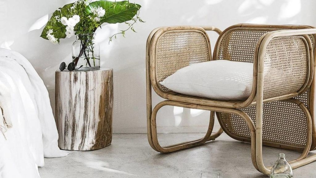 Bamboo homewares are popping up in interiors stores around the country. This woven rattan and bamboo chair is from Indie Home Collective.