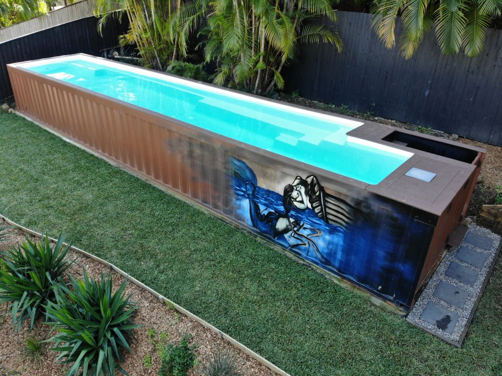 Concrete pools can cost up to $100,000 and fibreglass pools around $50,000, these unconventional pools start at just $25,000. Photo: Shipping Container Pools