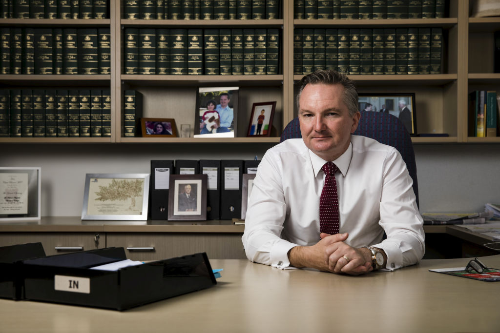 Shadow Treasurer Chris Bowen at his Electoral Office in Fairfield, Sydney on March 12, 2019. Photo: Dominic Lorrimer