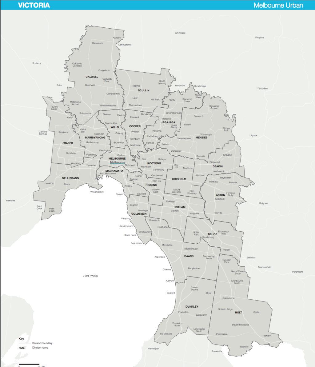 AEC map inner Melbourne federal electorates.