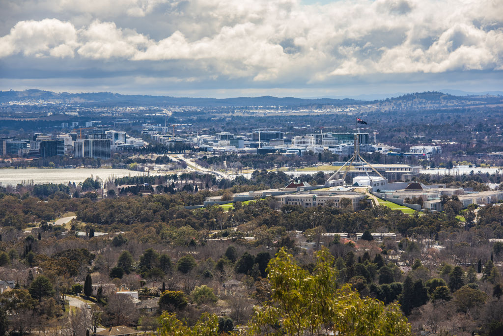 Aerial view of Canberra CBD and Parliament House Canberra