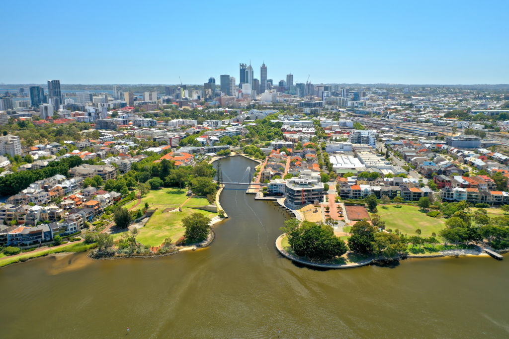 Aerial view of the Swan River looking towards Claisebrook Cove in East Perth, Western Australia, with the Perth city skyline in the background