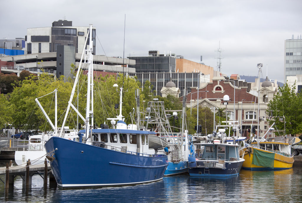The view of colourful boats and Hobart downtown skyline.