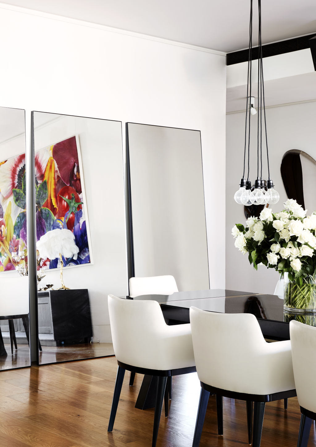 Mirrors by MCM House. Dining table and chairs custom designed by Poco Designs.  Styling: Annie Portelli.