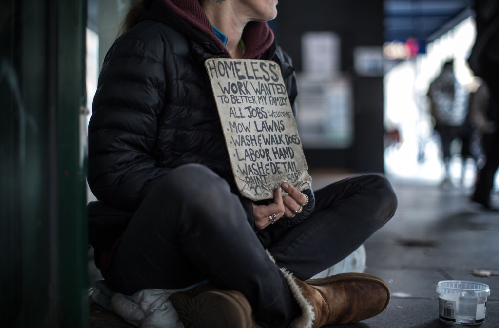 The Age, News. A homeless lady on Elizabeth st. Melbourne in the wake of the recent murder of a homeless lady.Pic Simon Schluter 27 May 2019.