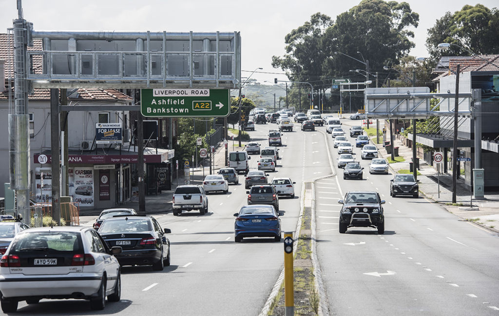 West Connex.Pictured is Parramatta Road Ashfield looking East showing  signs and roads.2nd January 2019Photo: Steven Siewert