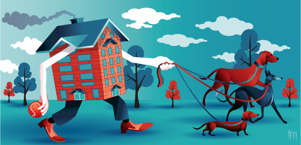 Illustration of a pet friendly apartment by Frank Maiorana NOT FOR REUSE