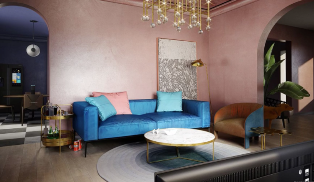 A designer update of the iconic lounge room.