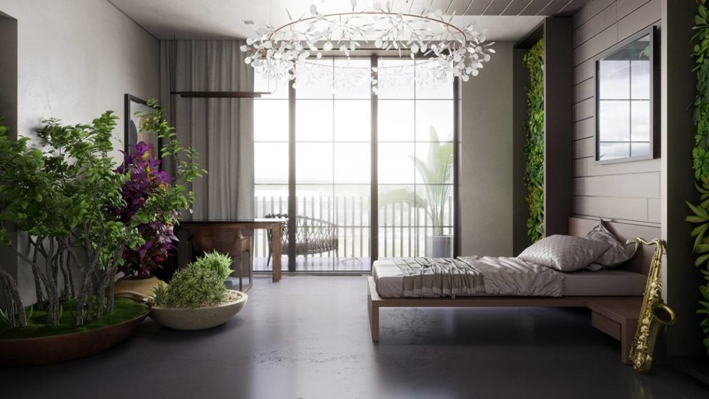 But this biophilia style room, complete with living walls and an indoor forest, really suits her down to the ground.