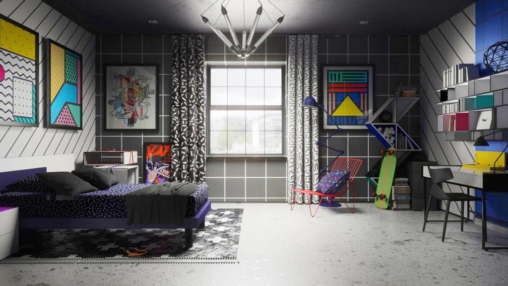 Bart's room gets a full on Memphis Design style make over.