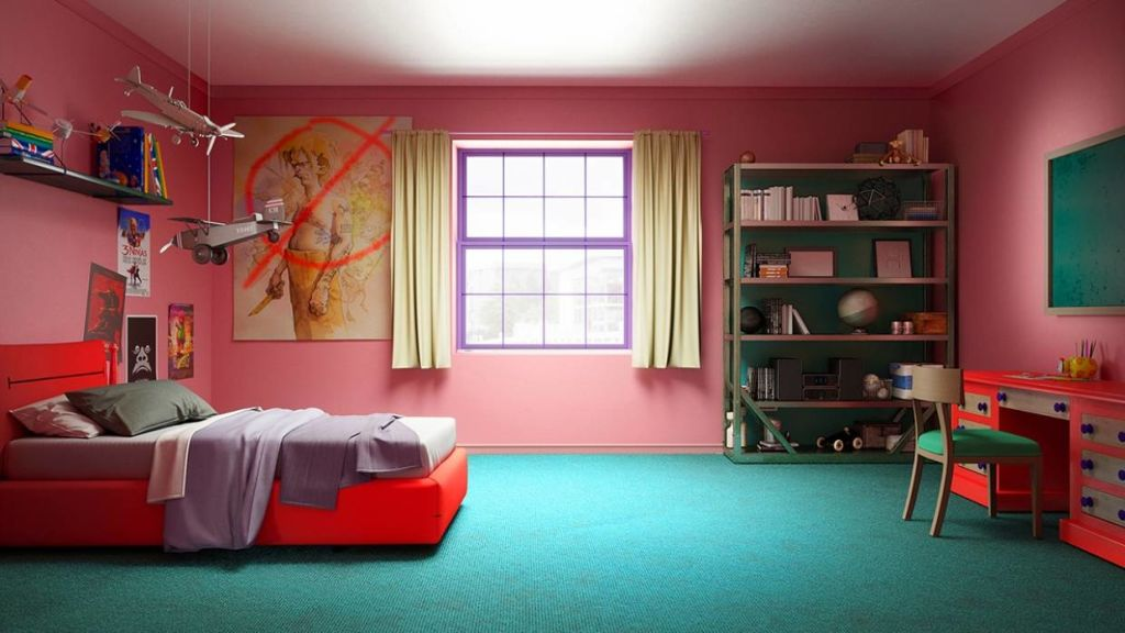 A mock of Bart Simpson's bedroom.