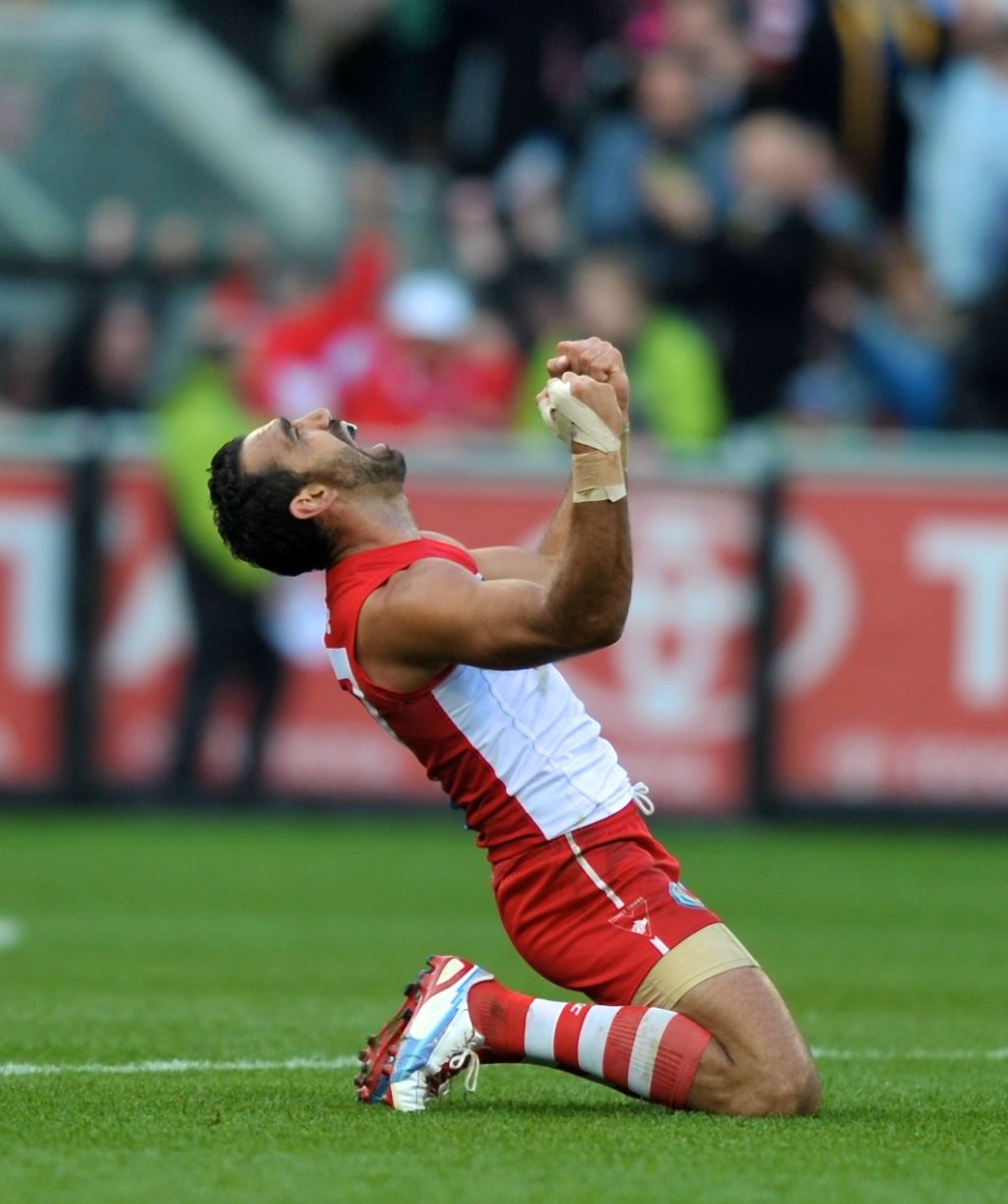 AFL Grand Final 2012 at the MCG Sydney captain Adam Goodes at the end of the game. 29th September 2012, The Age Sport, Picture by Wayne Taylor