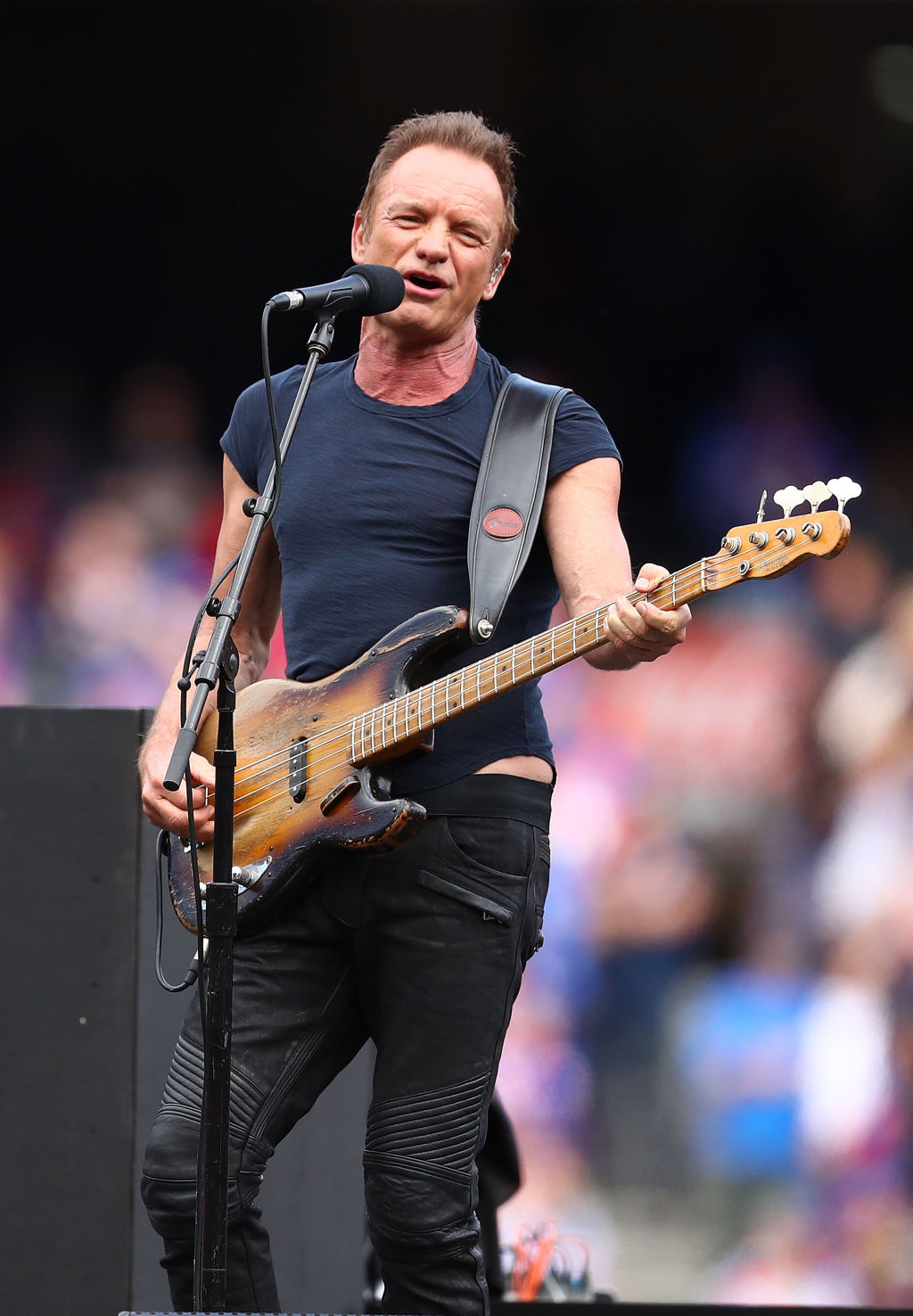 MELBOURNE, AUSTRALIA - OCTOBER 01:    Sting performs during the 2016 Toyota AFL Grand Final match between the Sydney Swans and the Western Bulldogs at the Melbourne Cricket Ground on October 1, 2016 in Melbourne, Australia.  (Photo by Scott Barbour/Fairfax Media) *** Local Caption *** Sting