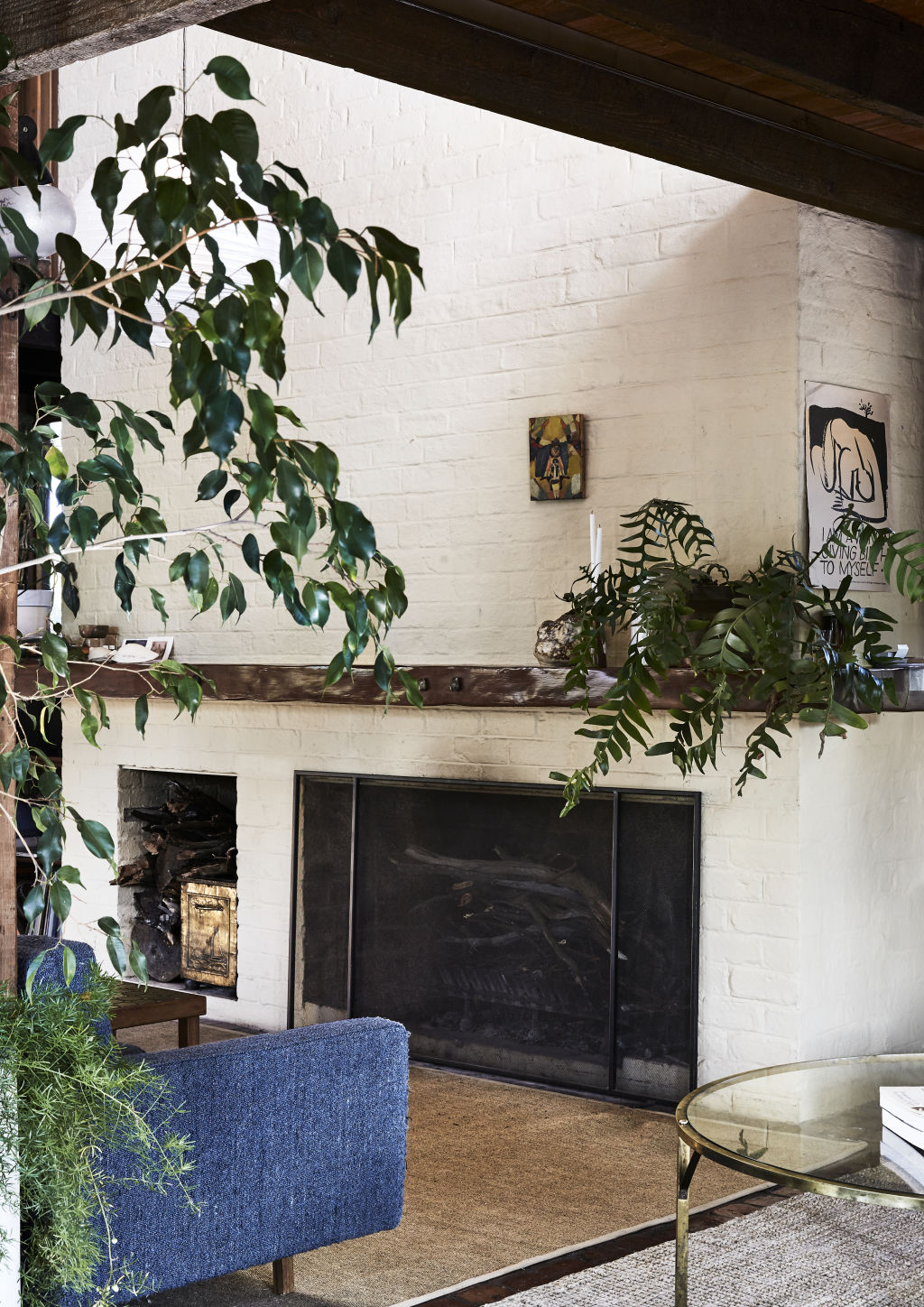 One of the two fireplaces in the expansive home.  Styling: Annie Portelli.