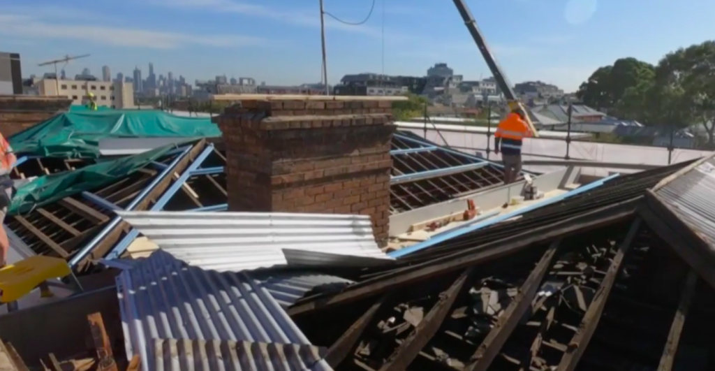 Structural changes meant the roofs of all The Block apartments were removed at once, but real-life renovators will need to ensure removing their roof doesn't risk damaging the neighbouring property.