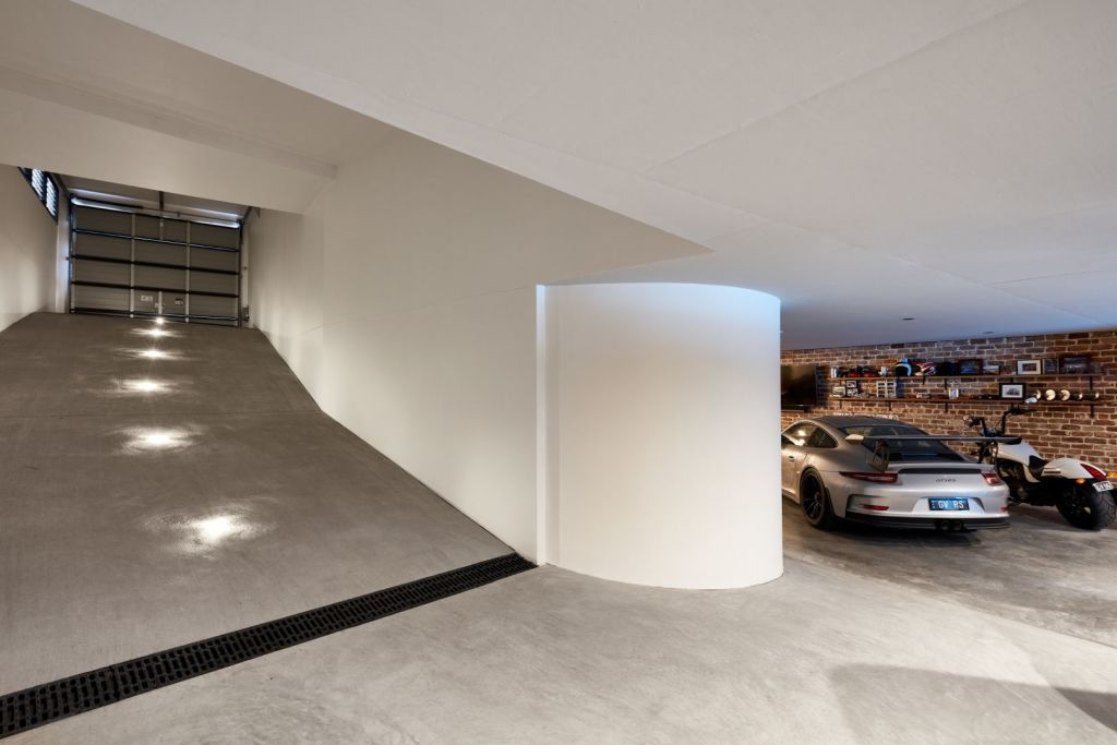 The impressive garage, excavated especially for luxury cars.