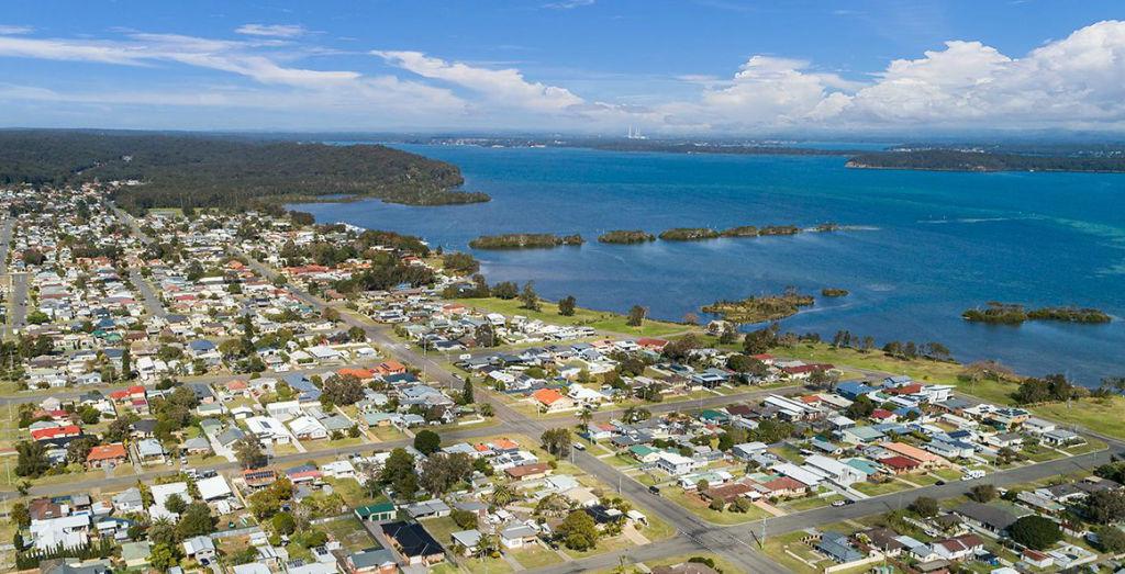 An aerial shot of Lake Macquarie
