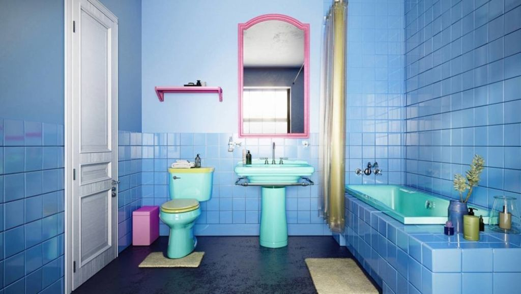 The Simpson's kitchy-cute bathroom rendered as a real world room.