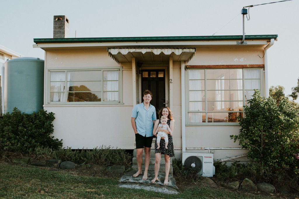 Josh and Jenna Densten with baby Freddie at their Skenes Creek Shack.