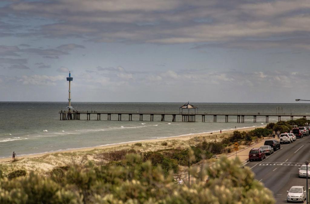 Brighton pier and esplanade in Adelaide