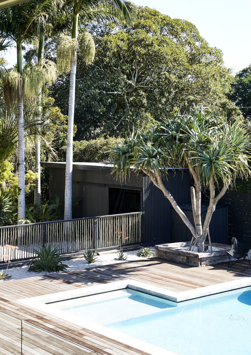 Magnesium pool surrounded by Merbau timber decking and Touchwood Trading pool fence. Styling: Annie Portelli.