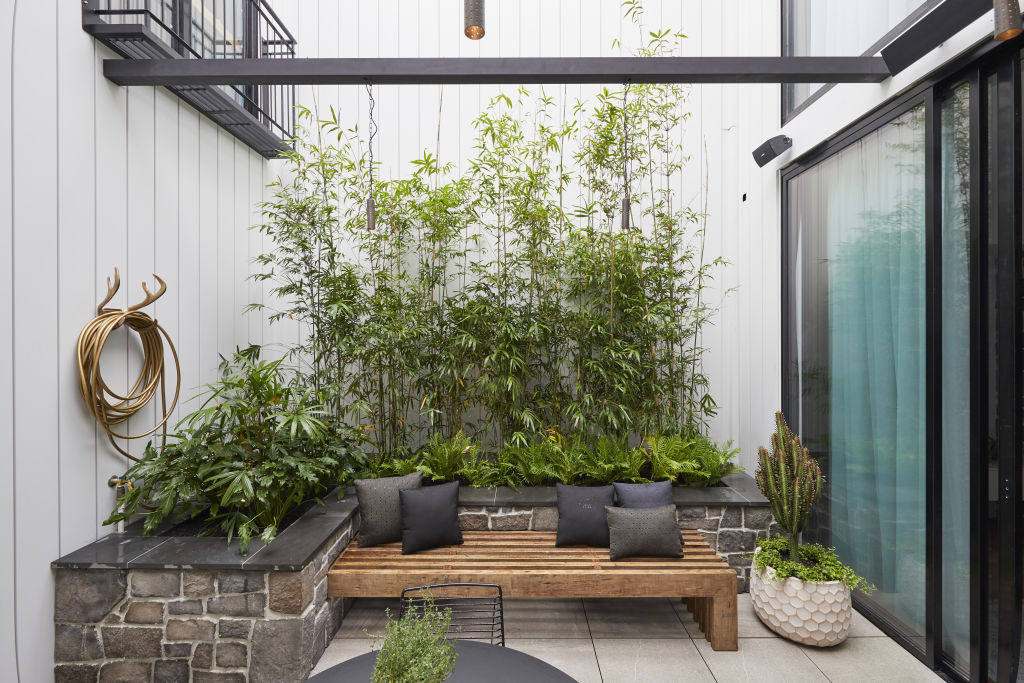 Central courtyards bring light and airflow into narrow terraces. Pictured: Matt and Elise's courtyard.