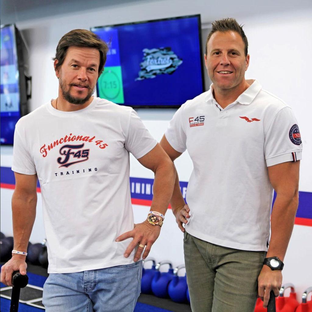 Mark Wahlberg with F45 CEO Rob Deutsch