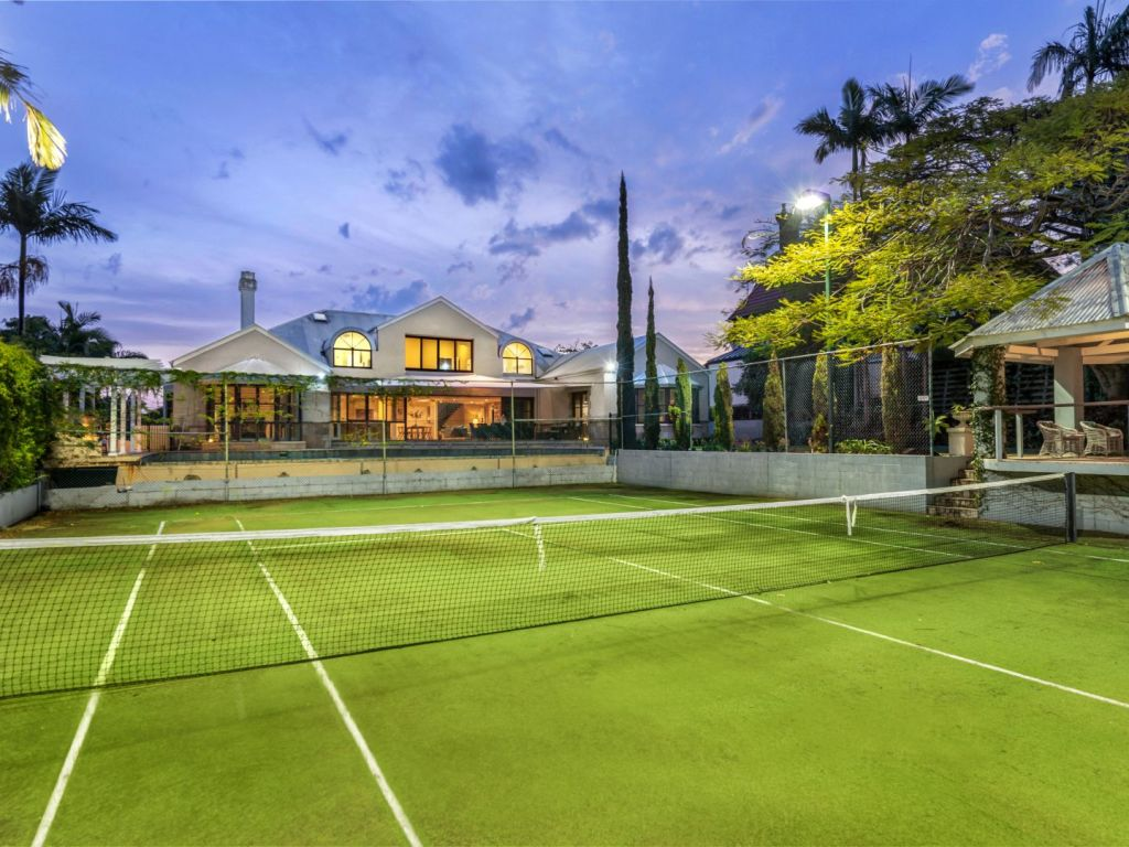 The large property featured a tennis court and swimming pool.