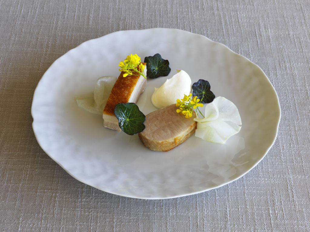 Roast Bundarra pork belly & loin, smoked eel, white balsamic, kohlrabi, mustard leaf at Ten Minutes by Tractor, Mornington Peninsula.