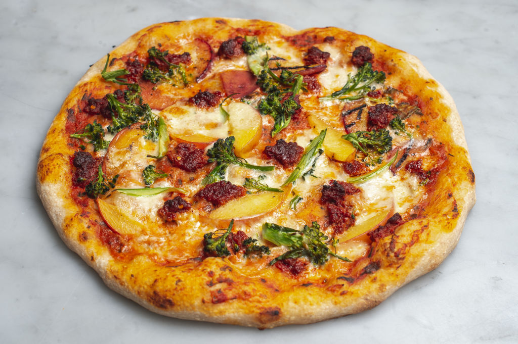 'nduja, burrata, charred peach & broccoli pizza at Rustica, South Yarra.
