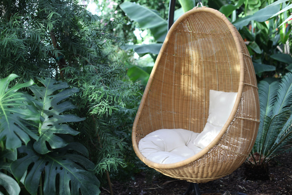 Brown wicker hanging chair