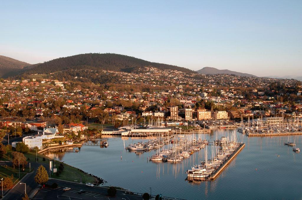 An aerial view of Hobart in Tasmania.