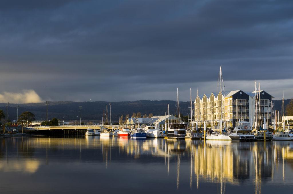 Charles Street Bridge and the seaport in Launceston, Tasmania.