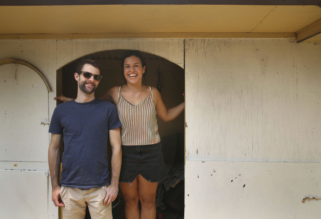 Josh Smith and Sophie Ray at their rented home in Stanmore.