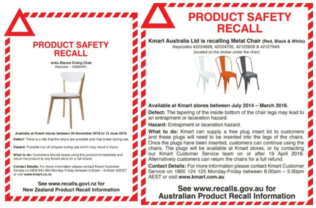 Two Kmart furniture recalls - the Bianca chair on the left is similar to the one that broke within two years.