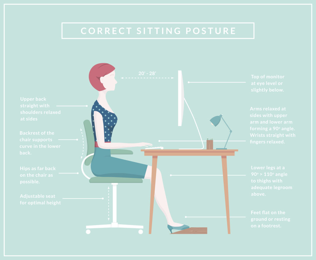 Make sure your workspace allows you sit in the correct position when working