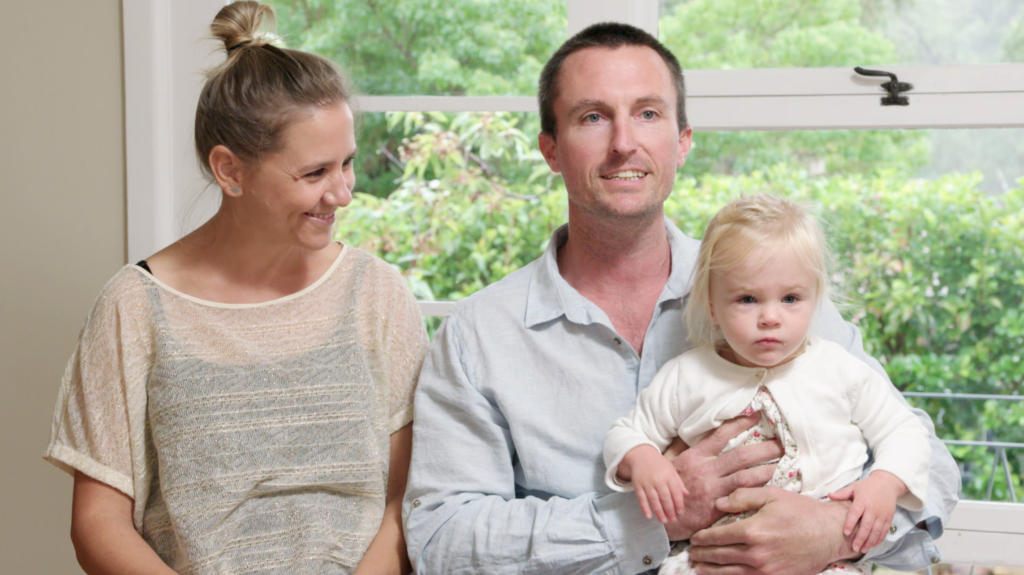 Family of three Chloe, John and Harriett ahead of the auction of their Mount Colah home.