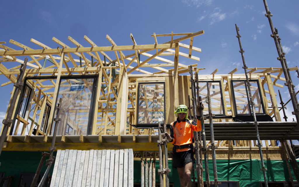 Generic housing construction in Colebee, Stonecutters Ridge Estate, Sydneys north west. Urban Land Housing. Suburbia, house, home, building, zoning, builders, labourers, jobs, employment. Monday 24th November 2014 AFR photo Louie Douvis